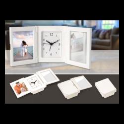 Folding Alarm Clock with Photo Frame & Mirror