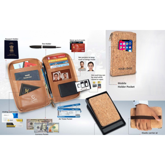 Eco-Friendly Cork All In 1 Passport Holder With Sim Card - CGP-3106