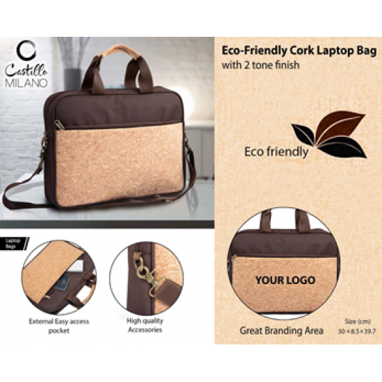 Eco-Friendly Cork Laptop Bag With 2 Tone Finish - CGP-3104