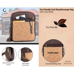 Eco-Friendly Cork Sling Messenger Bag - CGP-3103