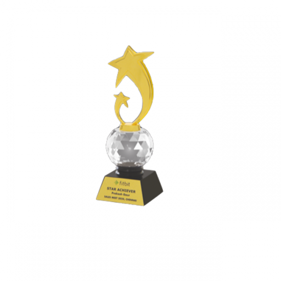 """Acrylic, Crystal and Metal Trophy L 10"""" (CGT- 9358)"""