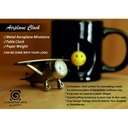 A Metal  miniature Airplane clock for Desktop or Table