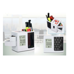 CLOCK WITH TUMBLER, STATIONARY HOLDER AND SLIDE OUT DRAWERS - CGP-2714