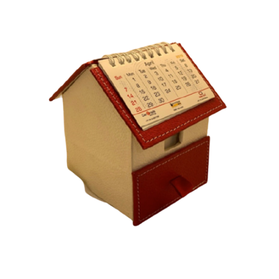 Red/pearl hut shape slip box with drawer and calendar