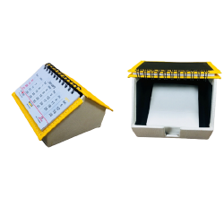 Yellow/pearl hut shape slip box with calendar