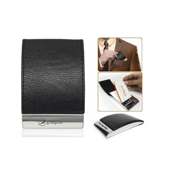 Vertical Visiting Card Holder in Leather & Metal