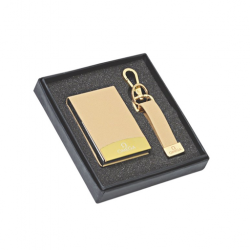 2 pcs Gift Set Stylish Golden coloured visiting card holder and key chain