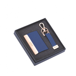 2 pcs Gift Set Stylish Blue coloured visiting card holder and key chain