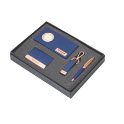 4pcs Gift Set Leather and metal visiting card holder, Pen, key chain. and a Table clock