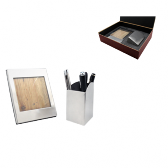 Stylish  Individually silver Pen stand with Photo frame