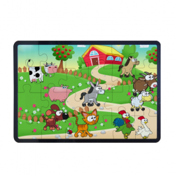24 Piece Rectangular Wooden Jigsaw Puzzle With a  Frame
