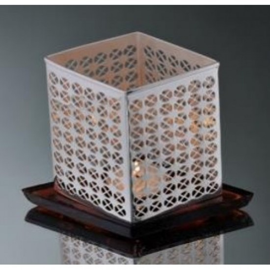 Silver Plated Tealights Holder Aura Rhombus Diamond