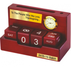 Perpetual Wooden Calendar with clock, slip pad and pen holder