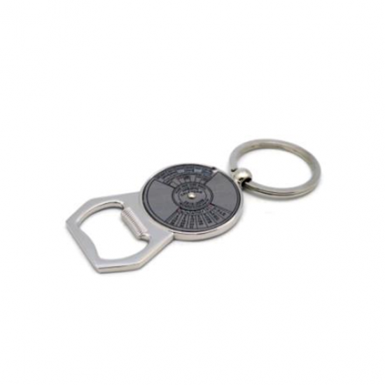 Key chain with 50-year calendar and bottle opener