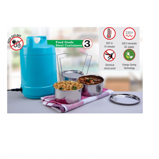 3 Container Electric Steel Lunch Box With Auto Cut Function - CGP-3129