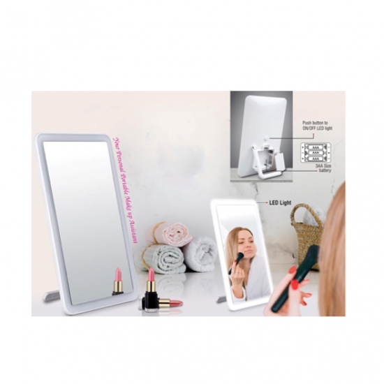 LIGHT UP LOOKING MIRROR WITH FACE ILLUMINATION LEDS (WORKS ON 3XAA BATTERIES)