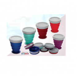 Folding Silicon Cup With Cap - CGP-3133