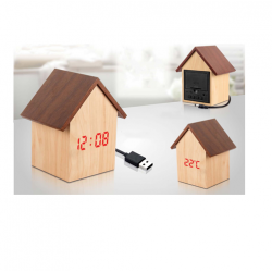 HUT SHAPE WOODEN LED CLOCK WITH TEMPERATURE AND SOUND SENSOR - CGP-2712