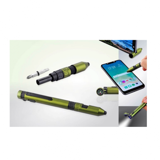 Metal 6 In 1 Military Pen with rugged looks(Compass, Torch, Tools, Phone Stand And Stylus)