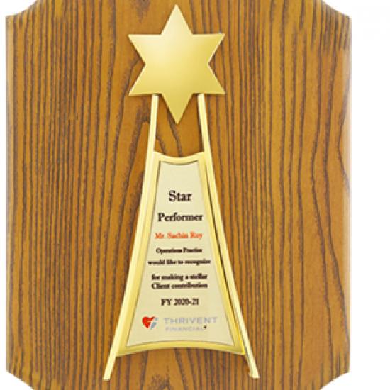 "Wooden Trophy CGT- 377, Size: L 12.5""xW 9"""