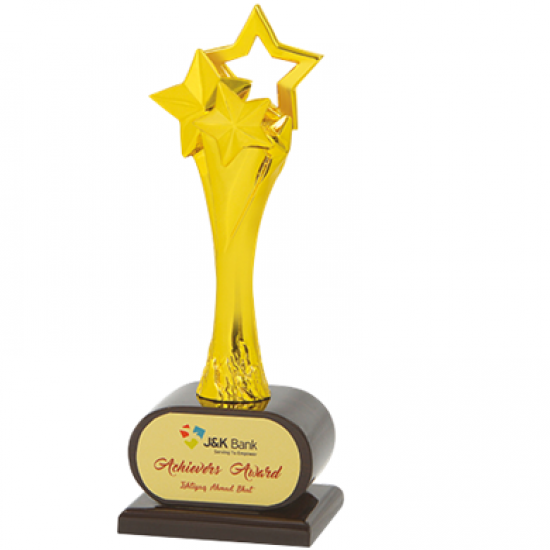 """Wooden and Metal Trophy : Size: L 12.5"""" (CGT- 373)"""