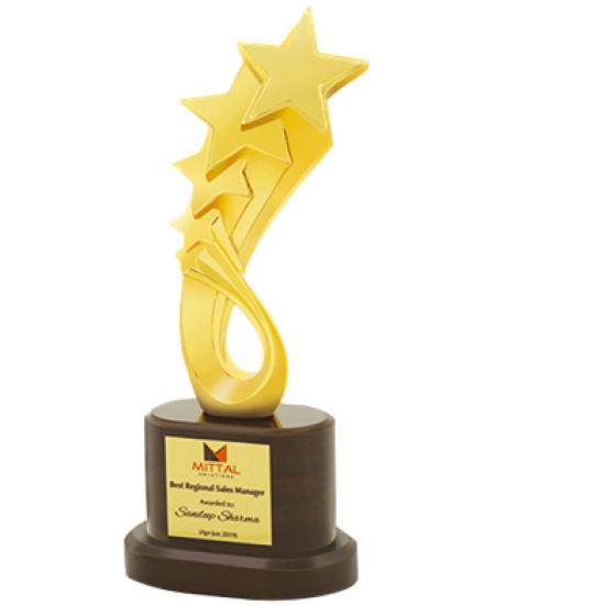 """Wooden and Metal Trophy : Size: L 12""""xW 10"""" (CGT- 374)."""