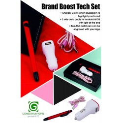 Brand Boost Tech Set - Data Cable, Car Charger & Metal Pen