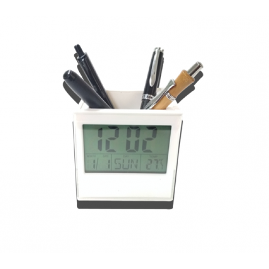 Cube Pen Stand With Photo Frame Digital Clock