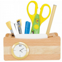 3 in 1 wooden desk set with clock mobile stand and pen stand