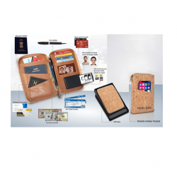 Eco-Friendly Cork All In 1 Passport Holder With Sim Card - CGP-3107